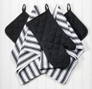 Quality Dish Towels, Pot Holders and Oven Mitt 5-piece Premium Kitchen Linen Set, 100% Cotton wholesale