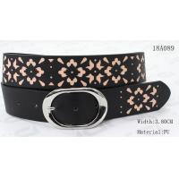 Quality Custom Laser Fashion Pattern Ladies Black Belt For Women With Nickel Buckle wholesale