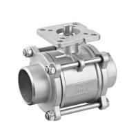 Quality SS 304 / 316L Sanitary Ball Valve , Three Piece Ball Valve With High Mounting Pad wholesale