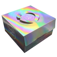 China Customised Logo Printing Paper Wholesale Luxury Pink Holographic Square Cake Packaging Boxes For Sale on sale