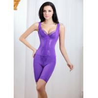 Quality Fresh ! Pure Color Spandex Nylon Body Shaping Underwear with Sleeveless and High Waist Two-piece Set TZ18 wholesale