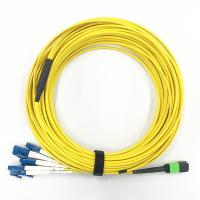 Quality LSZH Material SM 3.0mm Breakout Fiber Optic Cable G657A2 8F Mpo To LC Connector wholesale