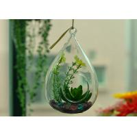 Cheap Hanging Teardrop Glass Terrarium , Hanging Glass Teardrop Candle Holders for sale
