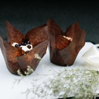 China Chocolate Brown Color Baked Good Packaging Tulip Cupcake Liners Anti Skid on sale