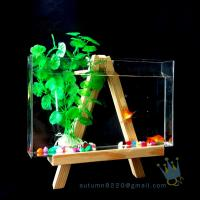 Quality Fake glass acrylic custom fish aquarium with wood base wholesale