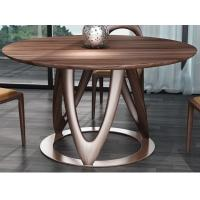 Quality Nordic style Living room Furniture Walnut Wooden Circular Dining table in Special design Legs and Stainless steel plate wholesale