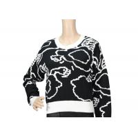 Quality Pure Cotton Black And White Jacquard Womens Knit Sweater , Custom Spring Sweaters wholesale