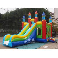 China Lead Free PVC Tarpaulin Inflatable Bouncy Castles , Rainbow Castle Slide Inflatable Combo on sale
