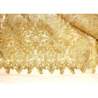 Quality Fashion Floral Pattern Gold Lurex Nylon Lace Fabric for Party / Banquet Dress wholesale