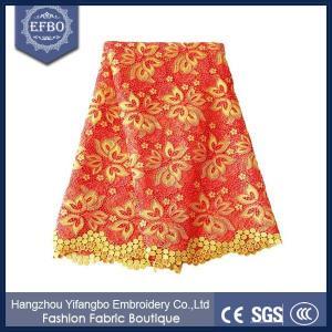 Quality Nigerian wedding embroidery lace fabrics / latest design new lace fabric F50286 wholesale