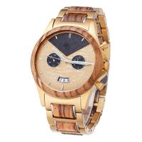 Quality Zebra Wooden Wrist Watch Minimalist Design With Gold Plated Steel Wood Band wholesale