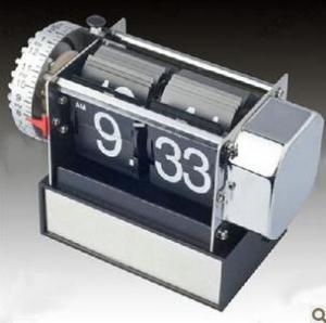 China Retro Modern Vintage Auto Flip Alarm Desk Gear Clock on sale