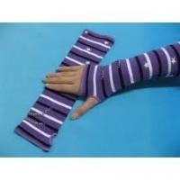 China Fashion soft Cotton Winter / Autumn Ladies Knitted Arm Warmer with Purple + White + Black on sale