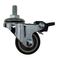 Quality TPR Brown Furniture Caster Wheels Swivel Threaded Stem With Brake wholesale