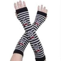 Quality Runners striped skeleton Knit mitten thermal wool Arm Warmer Fingerless Gloves wholesale
