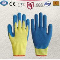 Quality 100 % Kevlar knitted glove Palm and finger tips coated in blue latex Knitted wrist,Gauge10 wholesale