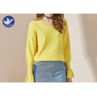 Quality Candy Color Trumpet Cuff Womens Knit Pullover Sweater / Ladies V Neck Jumper wholesale