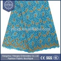 Quality Nigerian lace newest 2015 blue cord lace fabrics with many rhinestones for wedding dresses wholesale