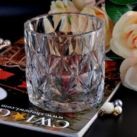 Quality Clear contemporary glass candle holders diamond pattern design Bottom dia 98mm wholesale