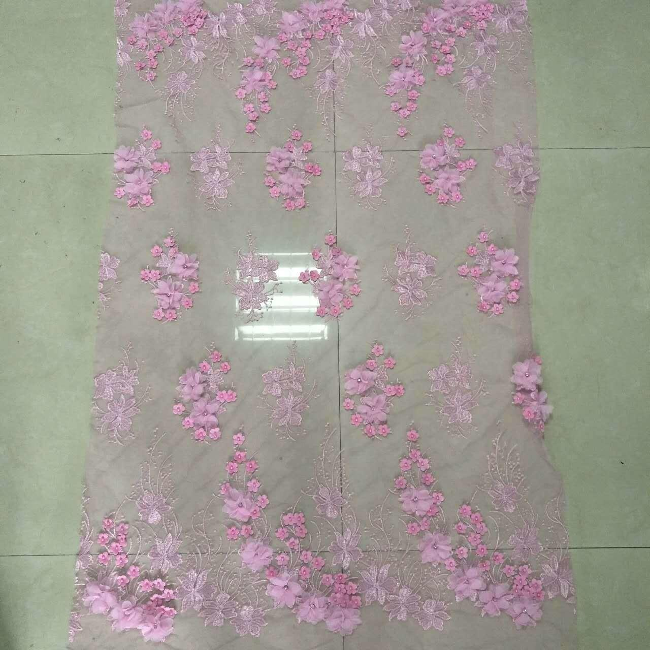 China Polyester 3D flower embroidered Lace fabric with bead  for women garments on sale