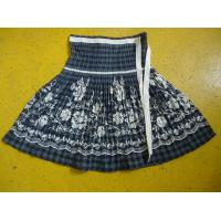 Quality 100% Cotton Little Girl Floral Dress , Ribbons Waist Girls Pleated Skirt For Age 7 wholesale