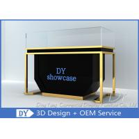 Quality Matte Black Wood Stain Steel Jewellery Counter Display With Lights wholesale