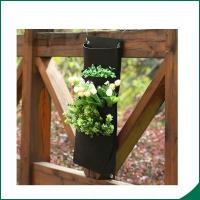 Quality 4 Pockets Black Color Recycled Vertical Wall Garden Planter / Balcony Plant Grow Bag wholesale