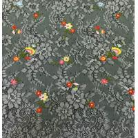 Quality Small Floral Base on Beautiful Floral scalloped edged  Nylon Embroidered Lace Fabric wholesale