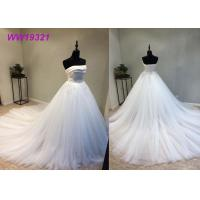 Quality Stunning Organza Strapless Ball Gown Wedding Dresses , Long Train White Lace Ball Gown wholesale