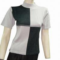 Quality Ladies sweater, made of cotton with intarsia wholesale