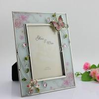 China Shinny Gifts Wedding Glass Photo Frame Butterfly Design Family Photo Frame on sale