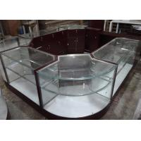 Quality Crystal Tempered Glass Jewelry Kiosk Furniture Full View Round Shape With Lights wholesale