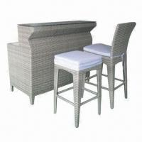 China Wicker Bar Furniture with High-seat Table and Chairs on sale