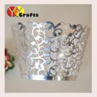 China Flower branch laser cut cupcake wrappers metallic silver paper various colors on sale