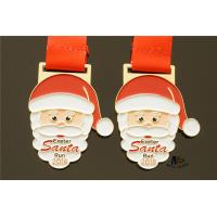 Quality Santa Relief Metal Award Medals Die Casting Soft Enamel Smooth Back With Sublimated Ribbon wholesale