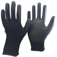 Quality 13 Gauge Knitted Black Nylon PU Dipped Working Gloves for Construction wholesale