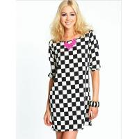Cheap Fashion Short Sleeve Check Print Dress / Short Ladies Knitted Dresses for sale