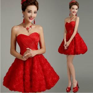 China Red Sweetheart Off Shoulder Bride and Bridesmaid Dress Knee-length Chiffon Formal Dress Vestido Curto De Voiva Praia on sale