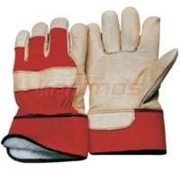 Quality women / men 8.5 - 11 inch Red Cotton Back Pig Grain Winter Leather Gloves 22303 wholesale