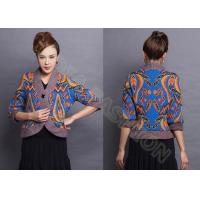 Quality Fashion V Neck Jacquard Sweaters with 3/4 Sleeve , Womens Cardigan Sweaters wholesale