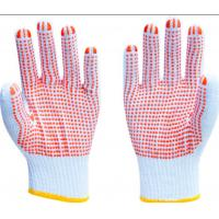 Quality PVC Dots Coated Cotton Knitted Hand Gloves , White Cotton Knit Gloves For Safety Working wholesale
