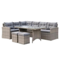 Quality Brown 1890mm Breadth Plastic Rattan Sofa Set With 80mm Grey Cushion wholesale