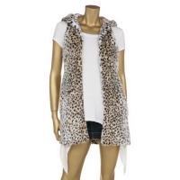 Quality Leopard Printing Fashionable Winter Coats Faux Fur Full Lining Sleeveless Hooded Jacket wholesale
