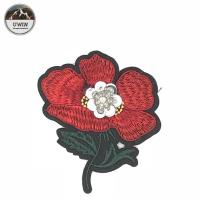 Quality Red / Green Iron On Embroidered Flower Patches 8.5 * 9CM Size For Work Blouse wholesale