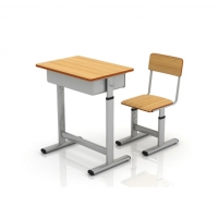 China Steel Study Table And Chair For Students Classroom Metal Chair With Desk School Furniture on sale