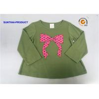 Quality Knot Bow Applique Top Long Sleeve Crew Neck Baby Girl T Shirt wholesale