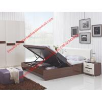 Quality Storage bed box with oil bar support in dark oliver painting and white headboard furniture wholesale