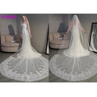 Quality Long Soft Lace Ivory Wedding Veils / 3D Flowers Edging Muslim Bridal Veil 5 Meters wholesale