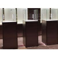 Cheap Simple Modern Custom Glass Display Cases Matte Black Painting Plinth Size for sale