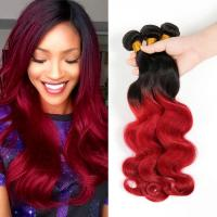 China Brazilian Virgin Hair Body Wave Ombre Human Hair Extensions1B Burgundy Red Two Tone Color Hair on sale
